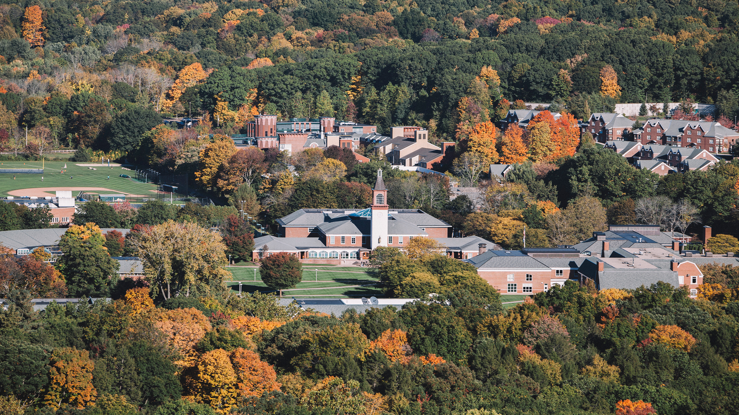 Aerial view of the Mount Carmel Campus in autumn